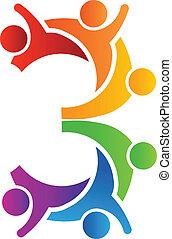 logo, 3, teamwork, antal