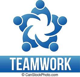 logo, 5, teamwork., gruppe, folk