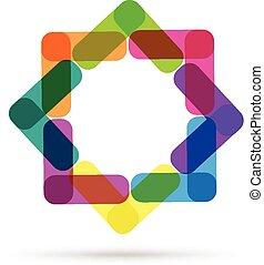 logo, abstrakt, branche card