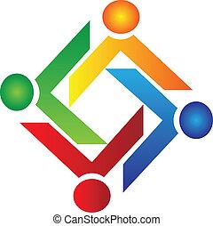 logo, almissen, vektor, teamwork, folk