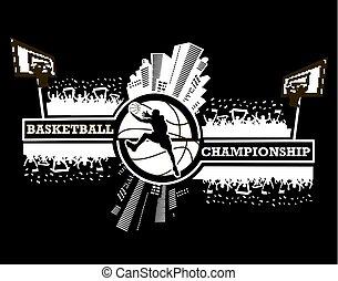 logo, basketball, mesterskab
