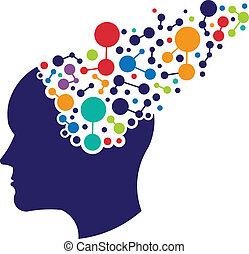 logo, begreb, networking, hjerne