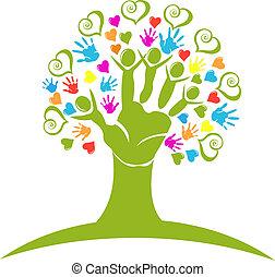 logo, beregner, hjerter, træ, hænder