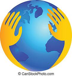 logo, beskytter, hen, verden, hænder