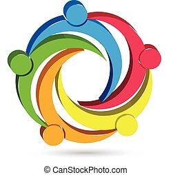 logo, enhed, folk, teamwork, 3