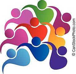 logo, enhed, vektor, teamwork, folk