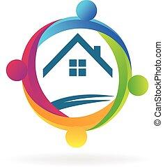 logo, estate, hold, ægte