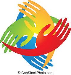 logo, facon, firkant, hænder