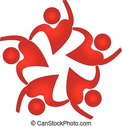 logo, facon, folk, teamwork, hjerte