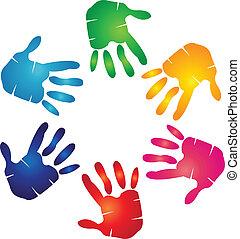 logo, farverig, hænder