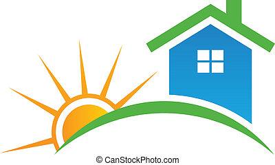 logo, firmanavnet, sol, hus