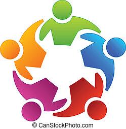 logo, folk, diversity, teamwork