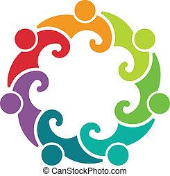 logo, folk, møde, 7, gruppe