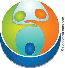 logo, folk, teamwork, omkring, verden