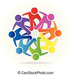 logo, folk, venskab, samfund, teamwork