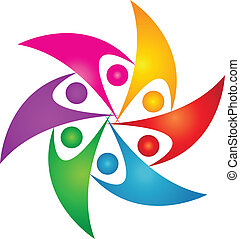 logo, foren, konstruktion, folk, teamwork