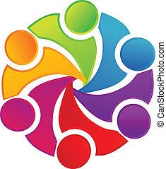 logo, foren, teamwork, folk
