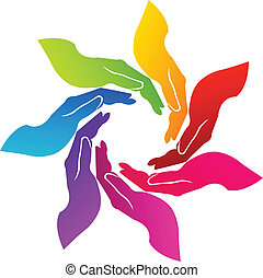 logo, frivillig, hænder
