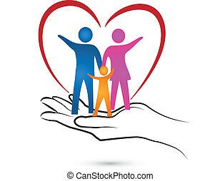 logo, hånd, hjerte, familie