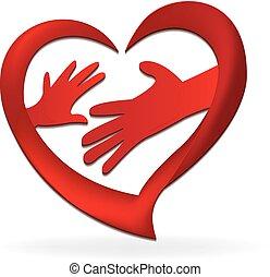 logo, hænder, constitutions, familie, hjerte