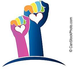 logo, hænder