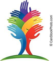 logo, hænder, vektor, træ