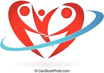 logo, hjerte, familie