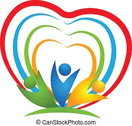 logo, hjerte, folk, sammenhængee