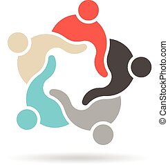logo, hold, gruppe, genforen, folk