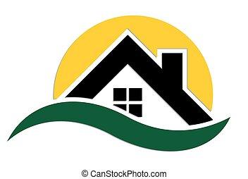 logo, house., land