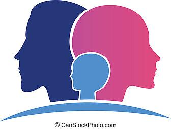 logo, hoveder, familie
