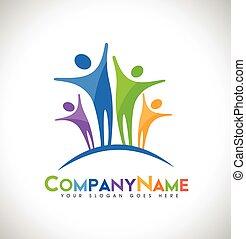 logo, konstruktion, folk