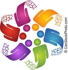 logo, kreative, konstruktion, teamwork