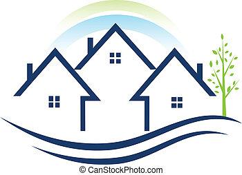 logo, lejligheder, træ huser