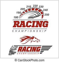 logo, mesterskab, racing