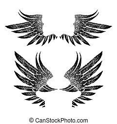 logo, retro, tegn, etikette, grafik, firmanavnet, emblem, baggrund., art., vinger, hvid, varemærke, åbn, sort, vinhøst, vektor, illustration., tatovering