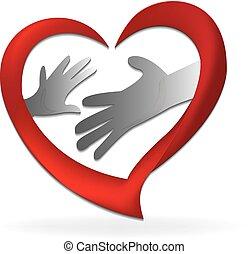 logo, søn, mor, familie, hænder