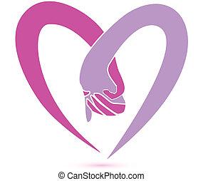 logo, sammen, hænder
