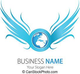 logo, selskab, konstruktion, vinger, jord