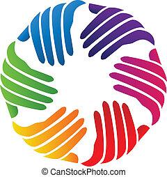 logo, selskab, vektor, hænder, almissen