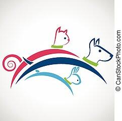 logo, silhuetter, hund, kanin, kat