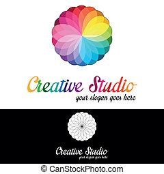 logo, studio, skabelon, kreative