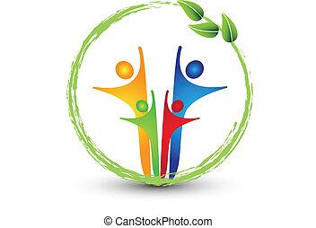 logo, system, familie, økologi