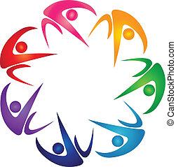 logo, syv, gruppe, farvet, folk