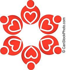 logo, teamwork, elsk hjerter