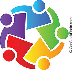 logo, teamwork, folk branche