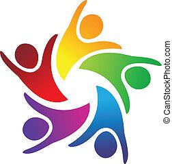 logo, teamwork, folk, enhed