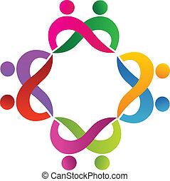 logo, teamwork, folk, par