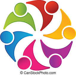 logo, teamwork, foren, folk