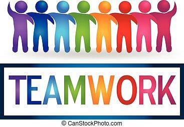 logo, teamwork, hugging, folk